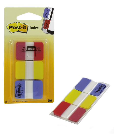 Post-It Index strong 3x22 3 farger 25x43mm